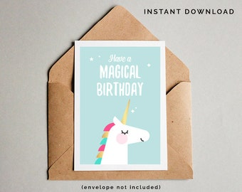 Unicorn Birthday Card, Unicorn Printable Card, Unicorn Card, Girls Birthday Card, Girls Printable Card, Instant Download