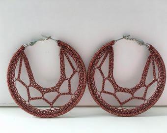 """Crochet hoops  2 1/4 """" in Coppery  Brown"""