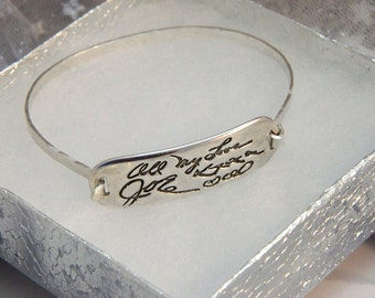 Personalized Signature Handwriting Jewelry loved ones' signature Sterling Silver Bracelet
