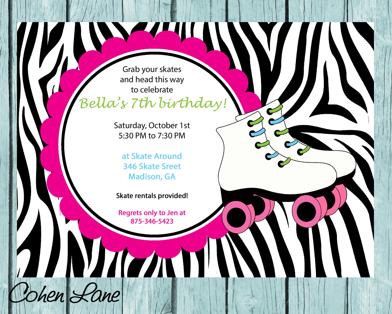 Skate Party Invitation. Skate Party Invite. Zebra Print Skate