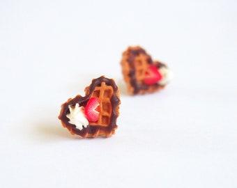 Waffle Earrings ( strawberry waffle chocolate waffle miniature waffle food miniature food jewelry kawaii earrings whipped cream )