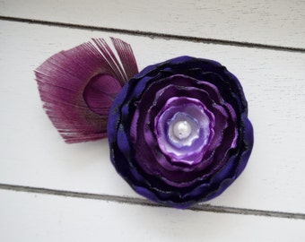Handcrafted Purple Ombre Peacock Feather Hair Accessory - Adult Hair Clip - Peacock Fascinator - Purple French Barrette - Plum Bows - Fancy
