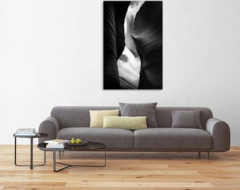 Fine art landscape photography - Antelope Canyon Curves in Black and White - Original Home Decor Wall Art
