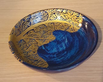 Wooden dish painted blue, coral with gold leaf pattern