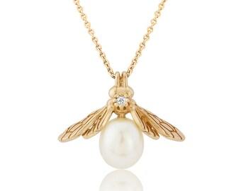 Yellow Gold Vermeil Pearl Bee Pendant