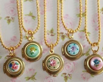 Girls Vintage Locket Necklace, Flower Girl Locket, Children Locket Necklace, Guilloche Locket, Birthday Gift