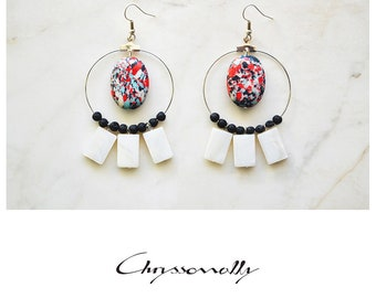 CGC036 - Red-white-black-turquoise mosaic stones, black lava and white mother of pearl boho chic earrings