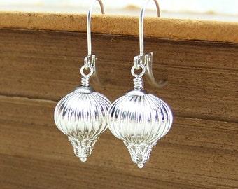 Silver Hot Air Balloon Earrings - Weather Balloon Space Ship Earrings - Sci Fi Earrings