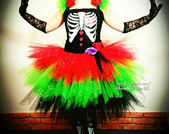 Red, green and black Day of the Dead Sparkly Tutu Dress-Birthday, Party, Photo shoot, Fancy Dress, Halloween