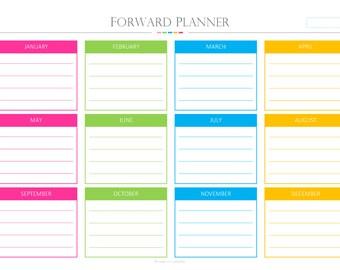 Forward Planner PDF, Landscape, forward planner, dairy, calendar, daily planner pages pdf, Instant Download