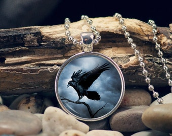 Gothic Crow Pendant, Gift for Her, Gothic Necklace, Gothic Jewelry