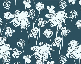 Slate Grey Bees Graphic Print.