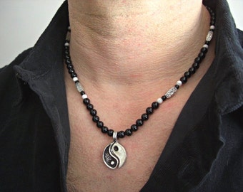 Yin Yang 2 pieces Pendants, Black Onyx, White Howlite, Silver Accents Men's Necklace, Men's Jewelry,Men's gift, Gift for him