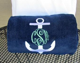 Monogrammed Beach Towel, Personalized Beach Towel, Anchor Monogram Towel, Nautical Monogram Beach Towel, Bridesmaids Gift, Teachers Gift