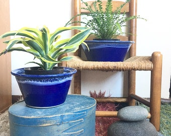 Set of two ceramic studio pottery cobalt blue mixing bowls, nesting bowls, plant pots, planters