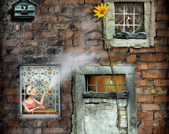 At window-40 x 40 Fine Art Print