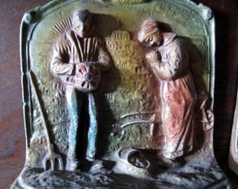 Pair Bookends, The Angelus, Pair Praying Over Potato Basket, Cast Metal, Painted, Call to Prayer, Religious, Farmer