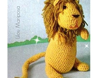 Crochet TOY Pattern Vintage 70s Crochet Lion Toy Pattern Crochet Stuffed Animal Pattern