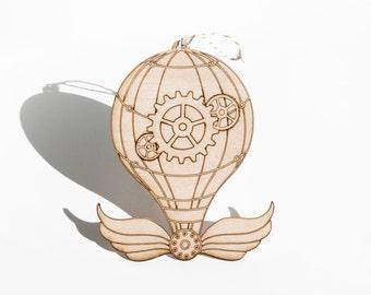 Steampunk Ornament - Steampunk Balloon,Air Balloon, Ornaments, Home Decor, DIY Crafts, Hot Air Balloon, Kids Decor, Wood Crafts, Supplies