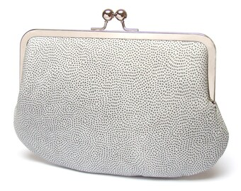 Clutch bag, white leather purse, silk-lined, CONFETTI handbag