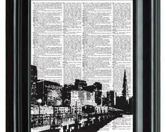 City Building Skyline Vintage Print, VINTAGE DICTIONARY PRINT, dictionary page, Upcycled dnictioary art print,  8.25x11.25 num. 81