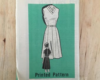Vintage 1960's mail order pattern 9156 Dress with a V shaped double fold neckline and paneled skirt in a size 14 1/2 Bust 35""