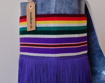 Leather, Leather Bag, Genuine Leather, Crossbody Bag, Shoulder bag, Silk Fringes, Everyday Bag, Unique Desing, Purse, Blue Bag, Stripes Bag