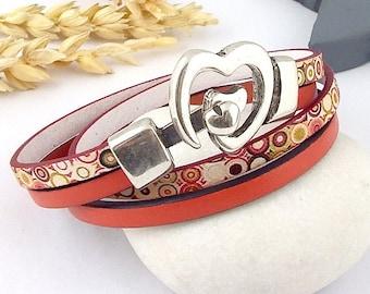 pop leather bracelet tutorial Kit original heart silver plated clasp
