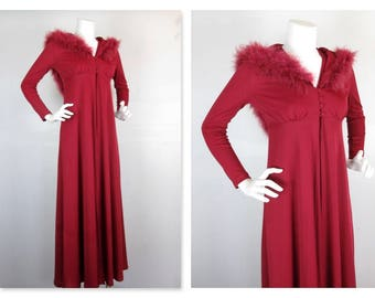 Vintage 1960s 1970s Two Piece Women's Dress / Gown, Hooded, Hoodie, Maribou Feathers, Long Jacket, Size Small, Little Red Riding Hood Chic