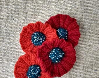 Knitted Poppy Brooch: Anzac/Remembrance Day Poppy Flower Brooch