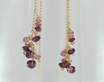 Gemstone Threader Earrings, Threader Earrings, Delicate Gemstone Earrings, Delicate Drop Earrings, Tourmaline Earrings, Pink Dangle Earrings