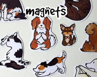 Cute Yoga Dog Decorative Magnets - Made to order, options available