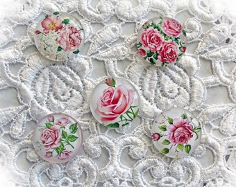 Reneabouquets Glass Dome Rose Cabochon Trinkets 5 Pack~Scrapbook Embellishment, Craft Supply, Jewelry Charm