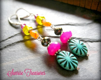 Bohemian Colorful Bead Earrings with Czech Glass Featuring Orange Carnelian and Hot Pink Chalcedony & Indian Glass, Funky Bead Jewelry