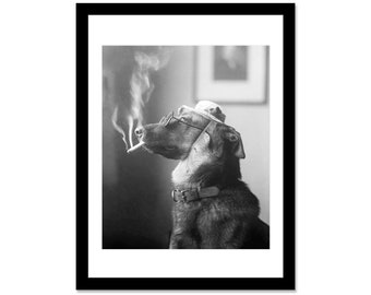 Black and white photo of a dog who smokes in 1919