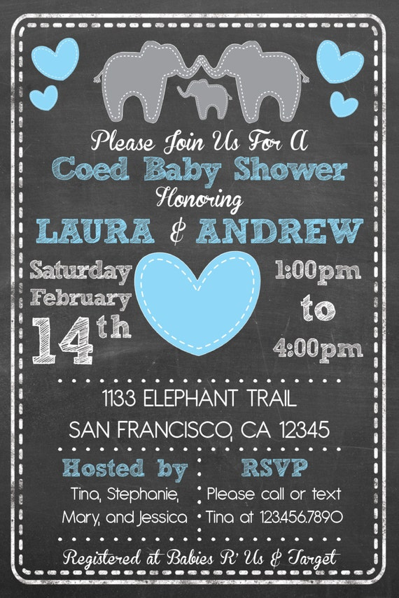 Printable Elephant Theme Coed Couples Baby Shower Invitation