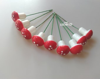 Styrofoam mushroom with wire holder, Applique, Set of 9 embellishments, Natural shapes, Materials, Visual arts, Handmade, Home decoration