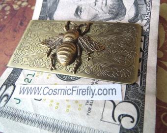 Brass Bee Money Clip Steampunk Money Clip Gothic Victorian Bee Vintage Inspired Antiqued Brass Men's Accessories Men's Gifts