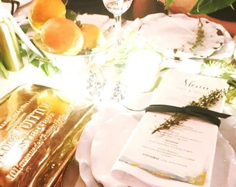 Gold Leaf Watercolor Menus