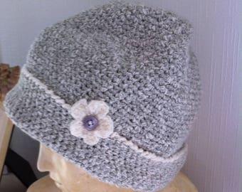 Kids organic grey and white crochet Hat