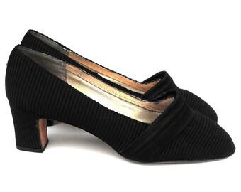 1950s Edwardian Ridged Noir Satin Pumps Vintage Victorian Era Style Pleated Regal Regency Black Mezzo Imperial High Heel Ladies' Court Shoes