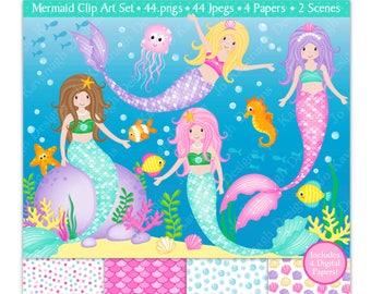 Mermaids clipart & Digital Papers Set,Mermaid Clip Art,Under The Sea Clipart,Cute Mermaids Clipart,Sea Animals,Scrapbooking,Commercial Use