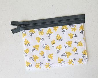 yellow, change purse, mini zipper pouch earbud pouch, business card id holder, small floral, coin purse, cosmetic chapstick mustard Gray