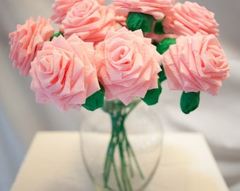 Paper Flower Bouquet - Dozen (12) Long-stem Baby Pink