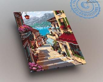 Mediterranean painting on canvas / Souarts Treppenstufe DIY Digitales/ mediterranean decor/ mediterranean sea/ mediterranean gifts