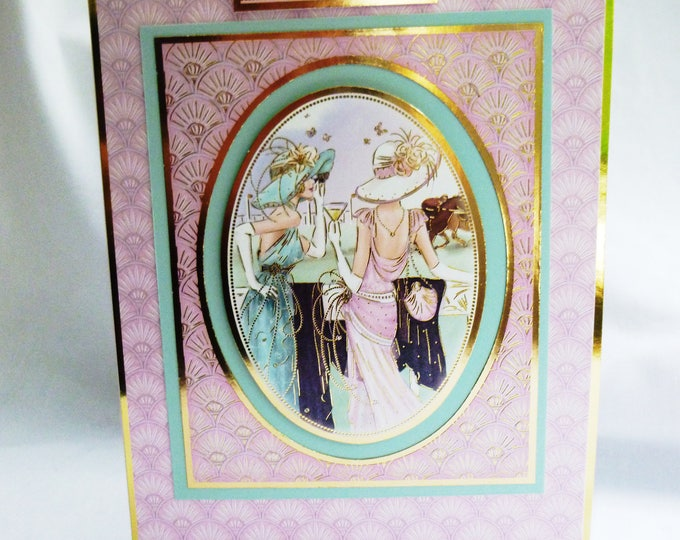Art Deco Card, Birthday Card, Greeting Card, Cocktails at the Races, Race Day, Female, Any Age, Mum, Daughter, Sister, Niece, Aunt, Friend
