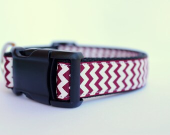 """Maroon & White Chevron Dog Collar. 1"""" wide, available in M, L, XL"""