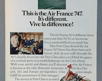 1970 Air France Double Page Print Ad - Boeing 747