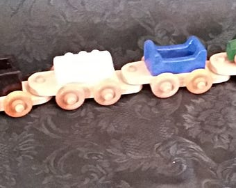 Toy Train  Wood  27 inches long  Hand crafted  NON-TOXIC finish  Engine & 5 cars