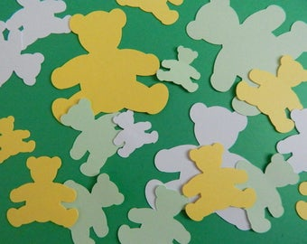 Teddy Bear Confetti, 100-piece pack of Bear Birthday Baby Shower Decorations, Green,Yellow, & White Table Scatter Confetti, Bear Party Decor